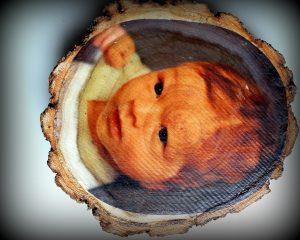 Holzscheibe Foto Bild Collage