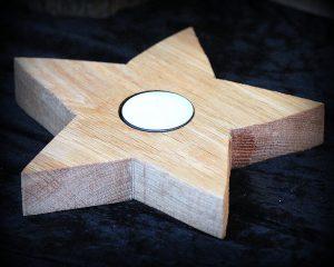 Teelicht Holzstern Bild Collage